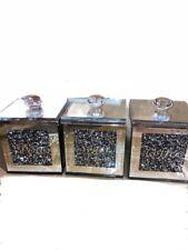 DIAMOND CRUSHED BLACK SILVER CRYSTAL FILLED TEA COFFEE SUGAR CANISTERS JARS