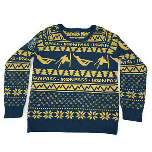 Ikon Pass Men's M Sweater Blue Yellow Snow Skiing Boarding Sleigh Every Season