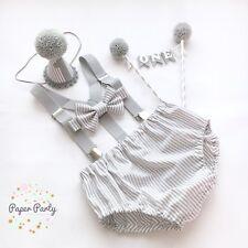 'NEW' Grey & White Stripe Boys Cake Smash Outfit/1st birthday Set