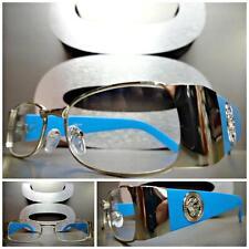 CLASSIC VINTAGE RETRO Style Clear Lens EYE GLASSES Silver & Blue Fashion Frame