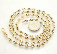 4mm Puffed Mariner Anchor Gucci Link Chain Necklace Real Solid 14K Yellow Gold