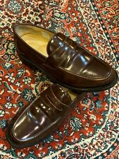 SAMUEL WINDSOR BROWN SHINY LEATHER PENNY LOAFERS 8.5 M