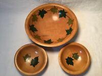 Vintage Munising Woodenware Maple 1940's Handpainted Footed Salad Bowl Set 3 Pc