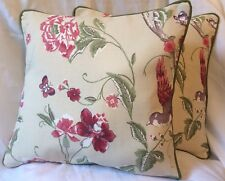 "2 cushion cover laura Summer Palace Cranberry  fabric 16""(piped) Green"
