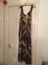 GEORGE Purple Yellow Swirl Maxi Dress UK 12 Pretty Summer Party Floaty Skirt