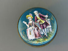 Antique French Enamel Bronze Patch Box or Snuff Box