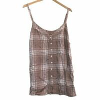 TORRID 2 Plus Size Sophie Taupe Plaid Tie Back Swing Cami Tan Brown Tank Top 2X