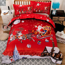 New ListingSanta Red Duvet Cover Set Twin Queen Size Christmas Pattern Bedding Set Us