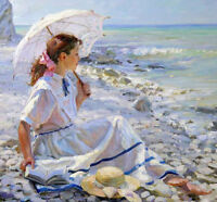 ZWOPT475 hand-paint white dress girl reading seaside art oil painting on canvas