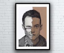 Monsieur robot portrait dessin-signé gicleé art imprimé A4 taille fsociety tv poster