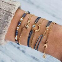6PCS Fashion Women Crystal Moon Star Adjustable Open Bangle Bracelet Jewelry Set