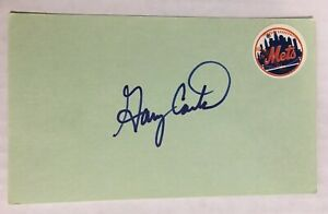 GARY CARTER NEW YORK METS AUTOGRAPHED SIGNED AUTO INDEX CARD / 1 Owner