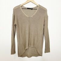 RDI Womens Tan V-Neck Slouchy Pullover Long Sleeve Sweater S Small