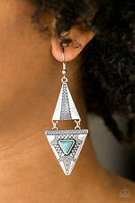 Paparazzi jewelry triangular frames turquoise stone tribal inspired earrings