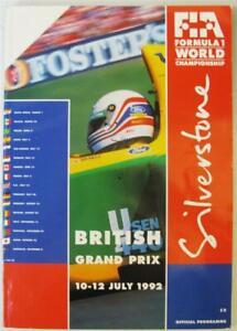 SILVERSTONE 10-12 Jul 1992 Formula 1 LF Official Programme + Race Card