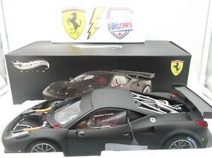 1:18 Hot Wheels Elite Ferrari 458 Italia GT2 2011 Matte Black (no Kyosho BBR)