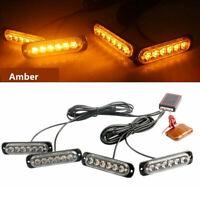 4x Strobe Marker Lights Truck 6LED Amber Flash Emergency Warning Lamp 12V-24V