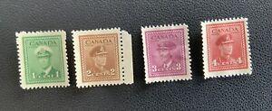 WW2 George VI Canada Canadian War Stamps #278-281