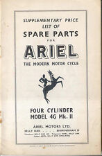 Ariel Motor Cycles Supplementary Parts Price List Four Cylinder 4G Mk 2 1956