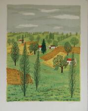 Maurice LOIRAND- Lithographie originale signée-Maisons dans les champs