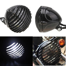 Motorcycle Finned Grill Led Headlight Lamp For Cafe Racer Bobber Chopper