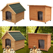 Big Wooden Pet Puppy House w/Curtain Rabbit Dog kennel Indoor Shelter House Hut