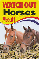 NEW Watch Out Horses About PVC Plastic Sign Farm Animal Pet