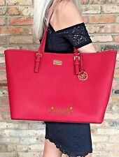 MICHAEL KORS JET SET LARGE SAFFIANO LEATHER BAG CARRYALL TOTE RED