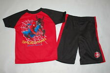 Boys Outfit Spiderman Homecoming Athletic T-Shirt & Shorts Red Black Size 4