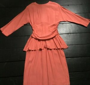 vintage 80's coral orange peplum spring day wiggle tired fitted dress