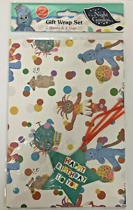 In The Night Garden Gift Wrapping Paper x 2 Sheets & Tags/ 2 Years Birthday Card