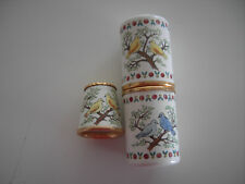 Bilston and Battersea, Halcyon Days English Enamel Needle Case and Thimble in Lo