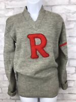 "Vintage Wool Gray Varsity Letterman Sweetheart Sweater With Red ""R 71"" Medium"