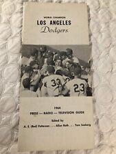 1964 LOS ANGELES DODGERS Media Guide Press SANDY KOUFAX World Champions DRYSDALE