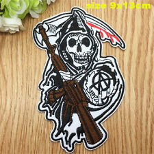 Sons of Anarchy Reaper Iron On Patch, Biker, Skeleton, Sew on.007