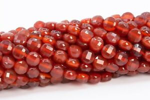 4MM Fire Red Agate Faceted Flat Round Button Grade AAA Natural Loose Beads