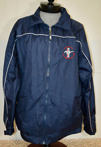 David Carey Ford Mustang Large Blue Embroidered Patch Lightweight Track Jacket