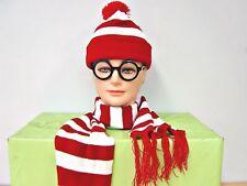 Red-White-Stripe-Waldo-Wally-Beanie-Hat-amp-Scarfe-amp-Glasses-Fancy-Dress