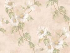 Wallpaper Designer Floral Hibiscus Trail Vine Green Leaves on Beige Background