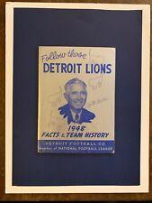 "1948 Detroit Lions ""rare"" NFL football Media guide/BILL DUDLEY/BO MCMILLAN!!"