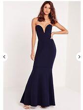 Missguided Navy Blue Bandeau Fishtail Maxi Dress. Size 4.