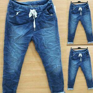Women's Ladies Magic Jeans Pocket Stretch Denim Trouser Pant Joggers UK 10-16