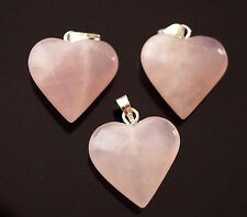 3x Gemstone Natural Rose Quartz Brass Findings Heart Charm Pendant (TSC46)