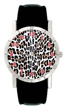 Leopard Skin Animal Print Mens Ladies Genuine Leather Quartz Wrist Watch SA2369
