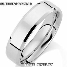 NEW MENS 10K WHITE GOLD WEDDING BANDS RINGS SIZE 4-13 ~ 6MM WIDE~FREE ENGRAVING~