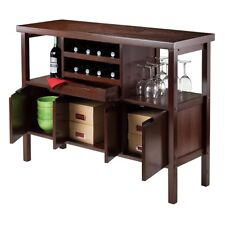 Mini Bar Buffet Kitchen Island Liquor Cabinet Wine Rack Table Brown  Furniture
