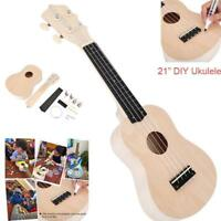 Ukulele Hawaii Guitar DIY Kit Wooden Musical Instrument Beginner Kids Gift 21''