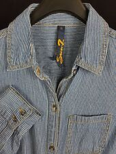 7 FOR ALL MANKIND Mens Blue Striped L/S Button-Down Shirt Small S Slim Fit