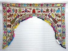 """Ethnic Vintage Door Valance Toran Hand Embroidered Door Topper Hanging 82"""" L"""