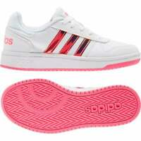 ADIDAS Youths Hoops 2.0 Trainers (White / Pink)